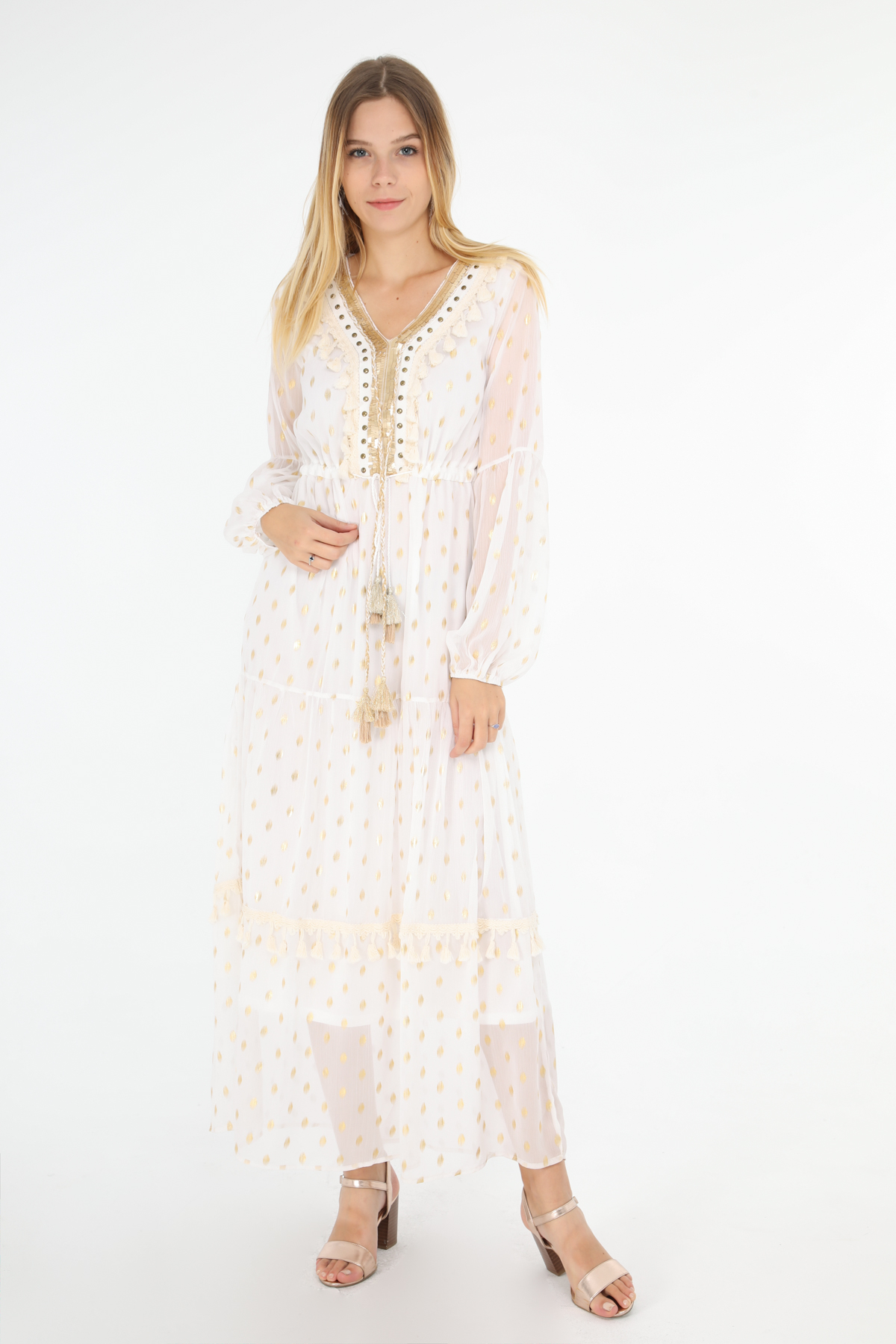 Robes longues Femme Blanc Golden Live 8836 #c eFashion Paris