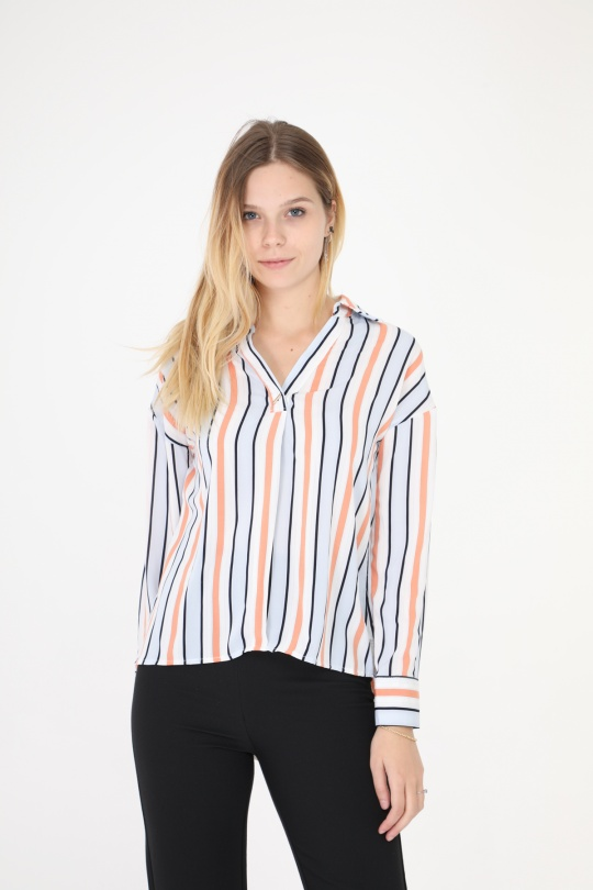 Chemises Femme rayure bleu BIANKA 7007 eFashion Paris