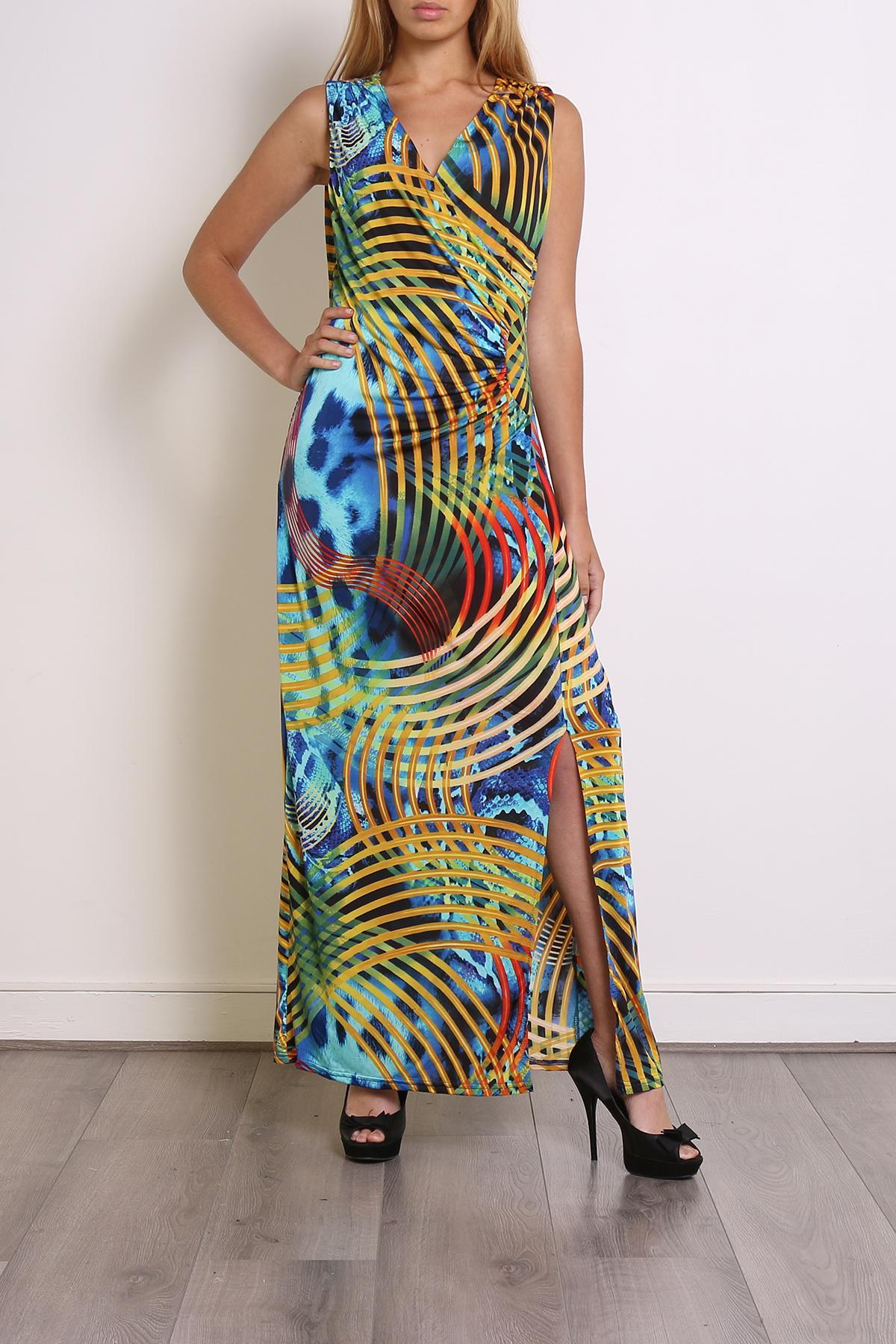 Robes longues Femme Couleurs mélangées Elissa 630-6 #c eFashion Paris