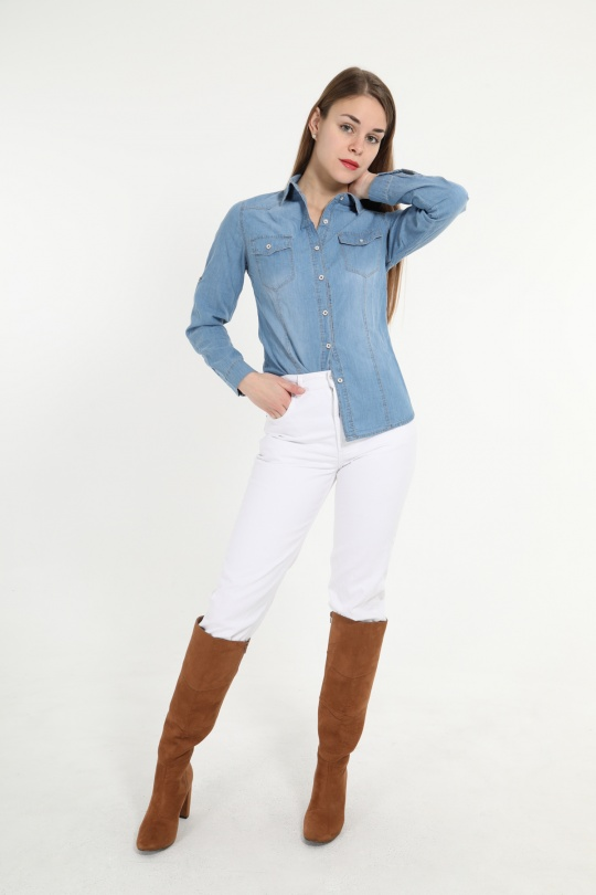 Camicie Donna Light blue La Belle A2681-3 eFashion Paris