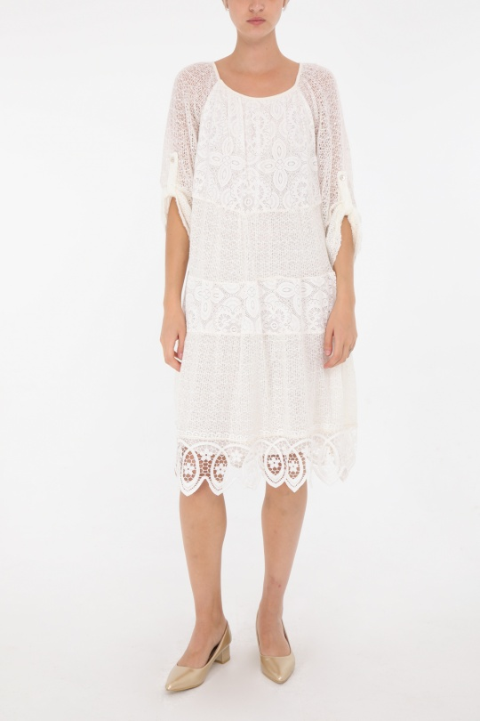 Robes mi-longues Femme Ecru 3D TRADE 6408 eFashion Paris