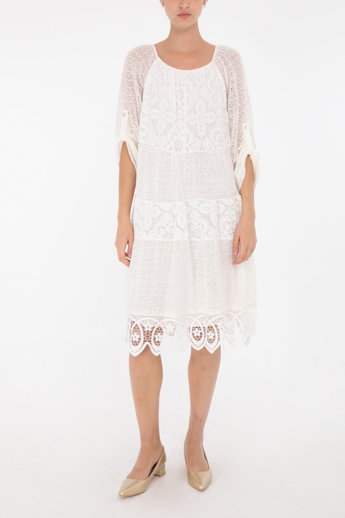 Robes mi-longues Femme Ecru 3D TRADE 6408 #c eFashion Paris
