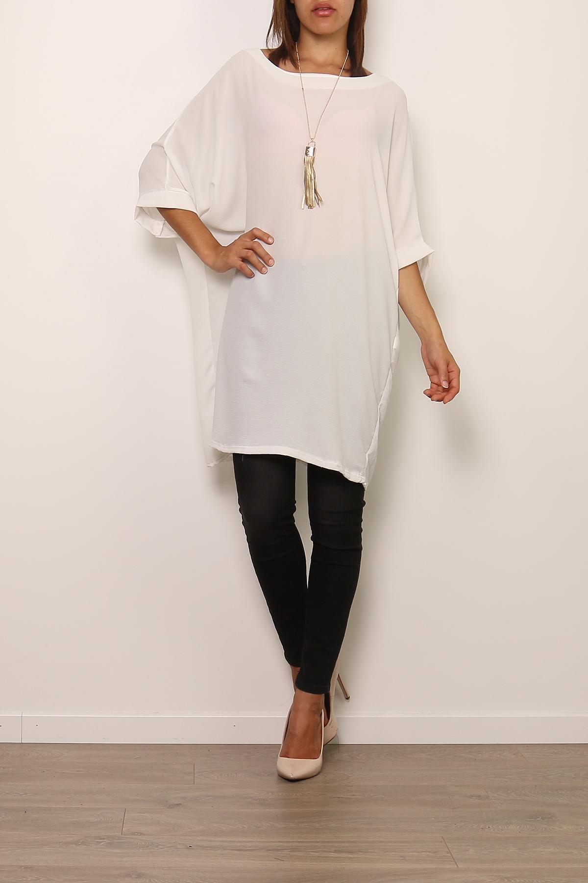 Robes courtes Femme 0643-BLANC Medi Mode