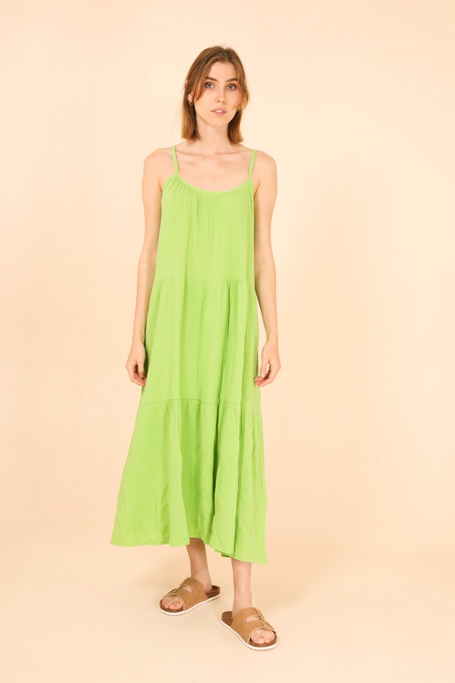 Robes longues Femme Vert fluo ELVIRA INDIANA #c eFashion Paris