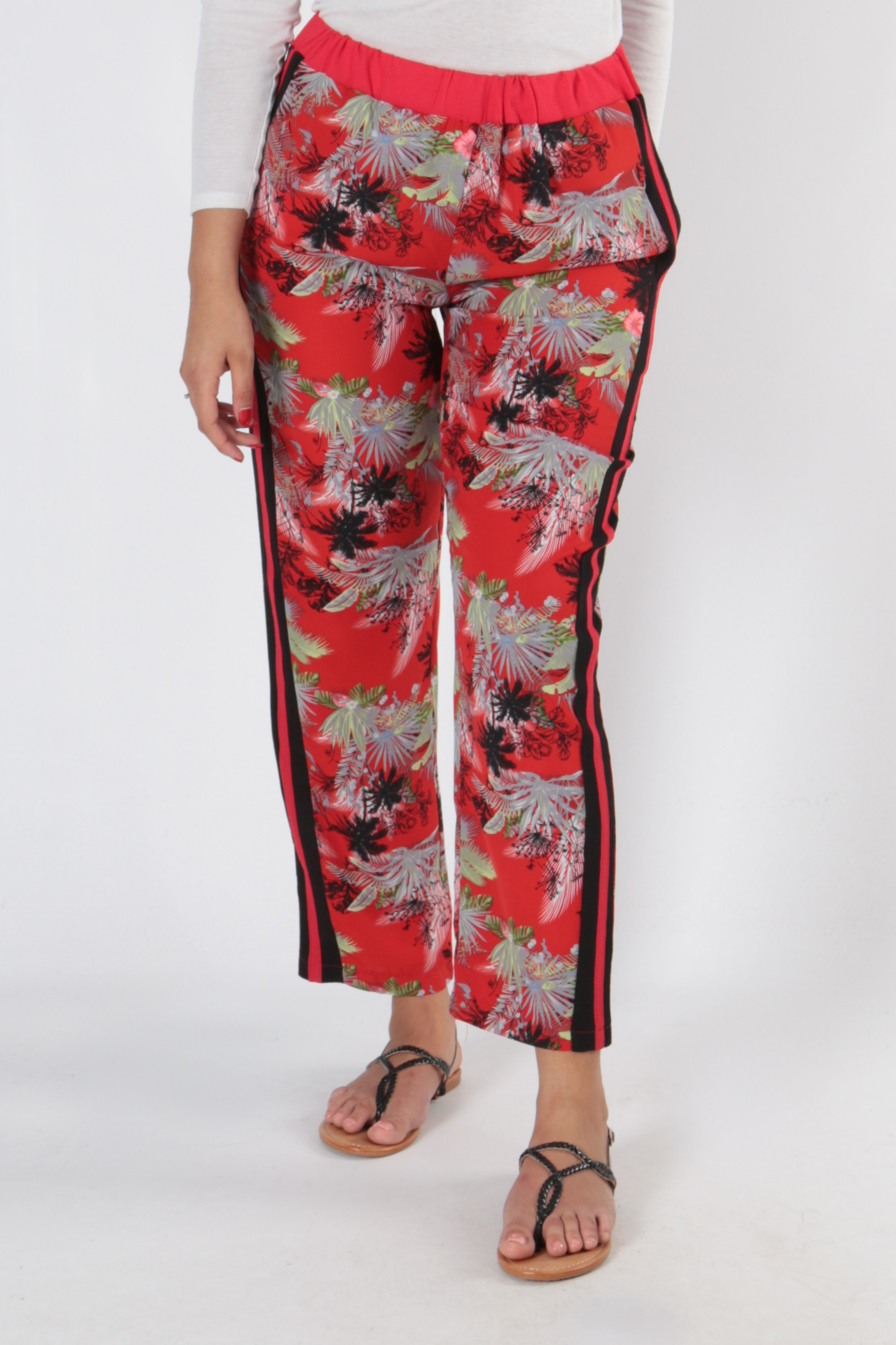 Pantalons Femme 2491-ROUGE À MOTIF FLEUR VETI STYLE