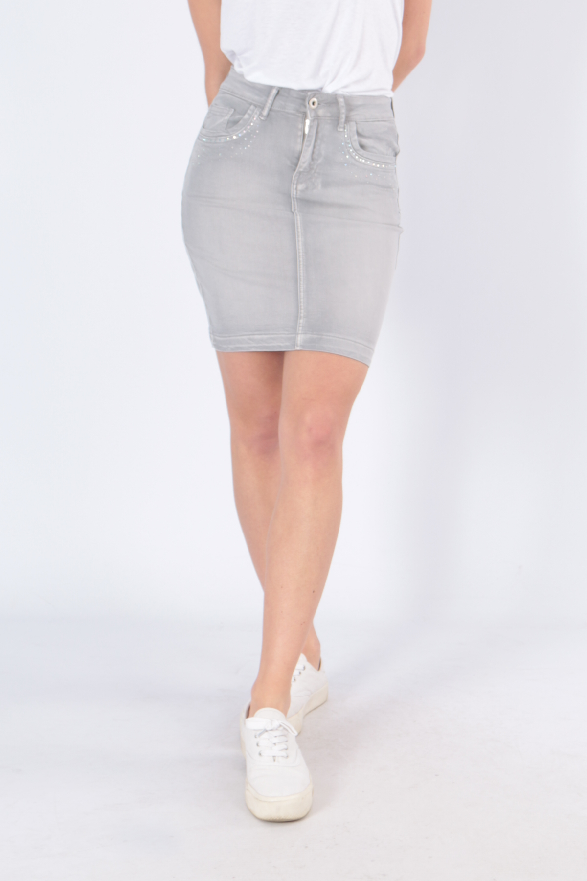 Jupes Femme B501-GRIS C.DENIM by ZAC & ZOE