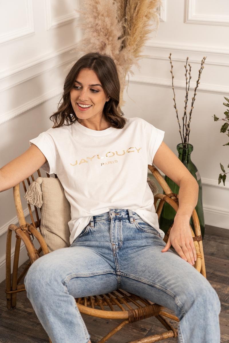 T-shirts Femme Blanc Jayloucy  JL001 #c eFashion Paris