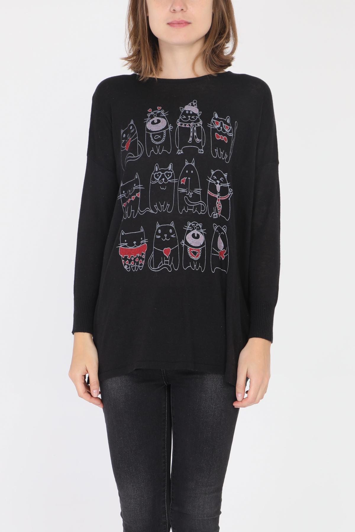 T-shirts Femme Noir Cherry Bloom CB-313 #c eFashion Paris