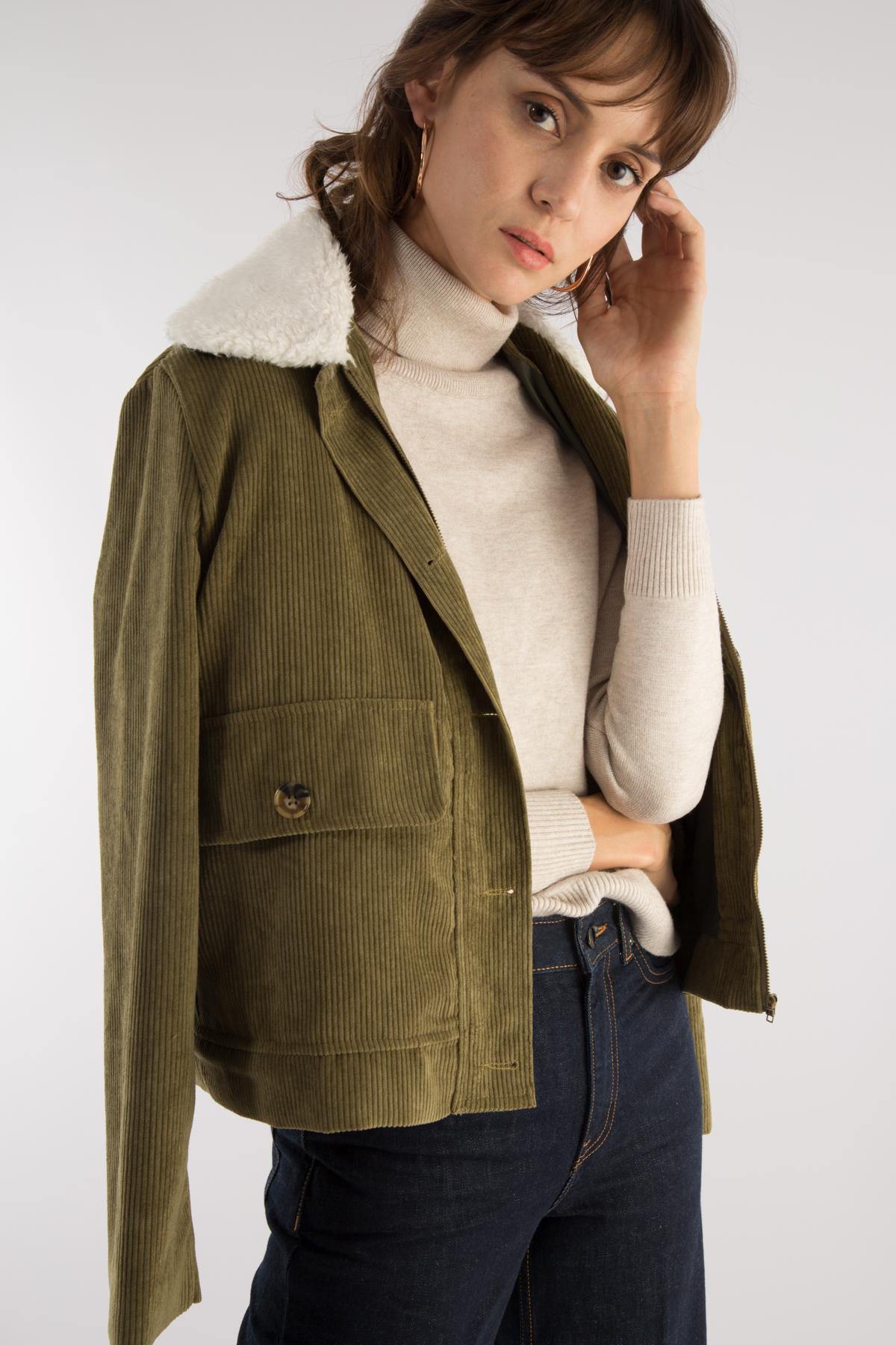 Vestes  Femme Vert Olive JOWELL JC8057 #c eFashion Paris