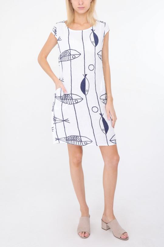 Robes courtes Femme Blanc Happy Look 1991POISSON eFashion Paris