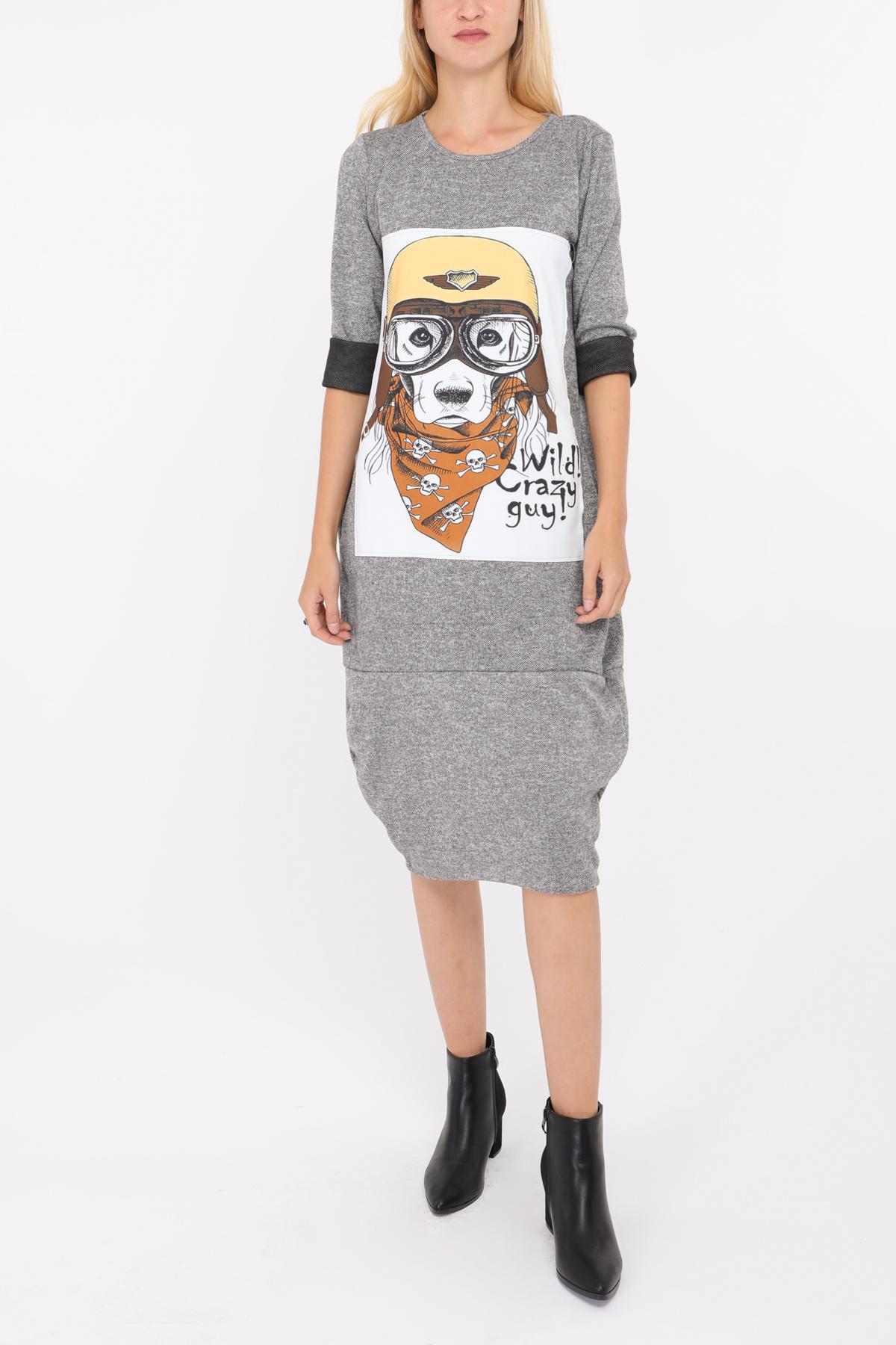 Robes mi-longues Femme Gris LUCKY NANA 81057-1 #c eFashion Paris