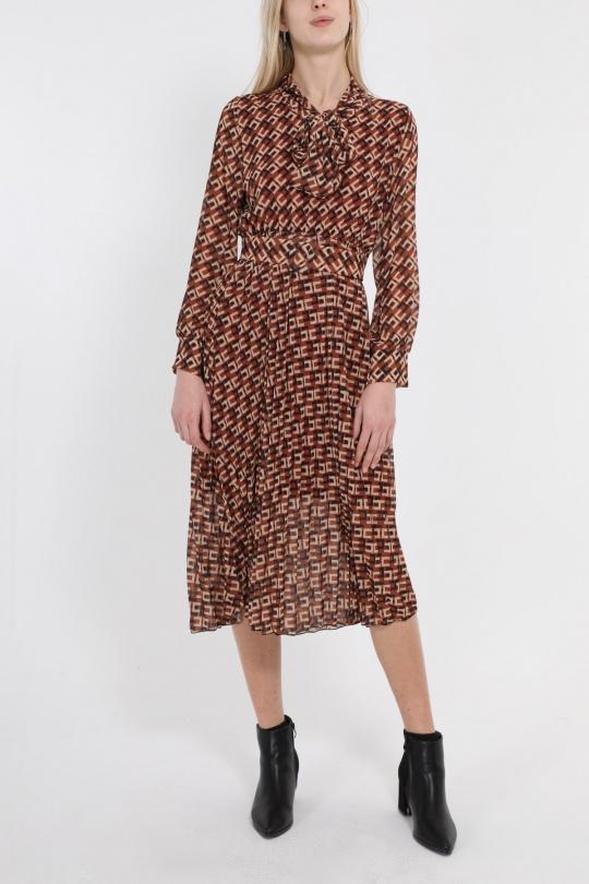Robes mi-longues Femme Marron PINKA 2309 eFashion Paris