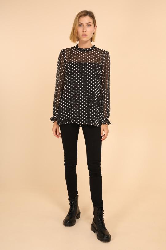 blouse voile transparent noir femme choklate marque 80883-1noir