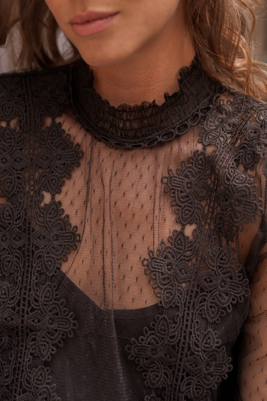 blouse noir femme dentelle choklate marque 80826