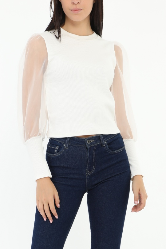Tops Femme Blanc PROMISE 7105 eFashion Paris