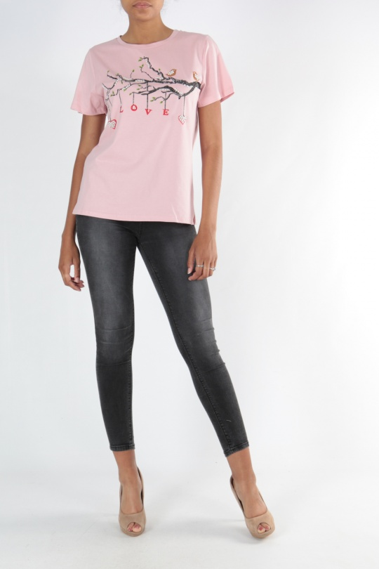 T-shirts Femme TS3909-ROSE v.code