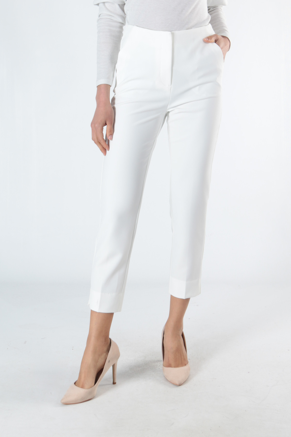 Pantalons Femme Blanc ATTENTIF P7308 #c eFashion Paris